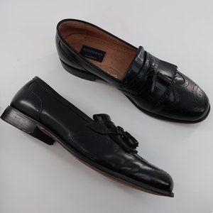 Black Leather Kilt Tassel Loafers Brogue 12 M